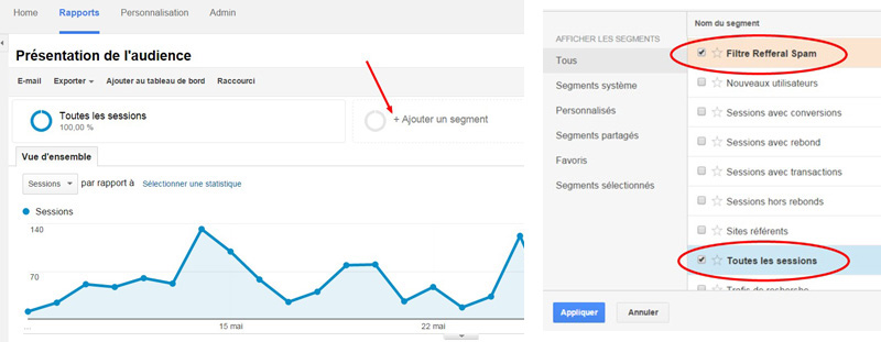 Filtre Google Analytics, section segment - AWM82