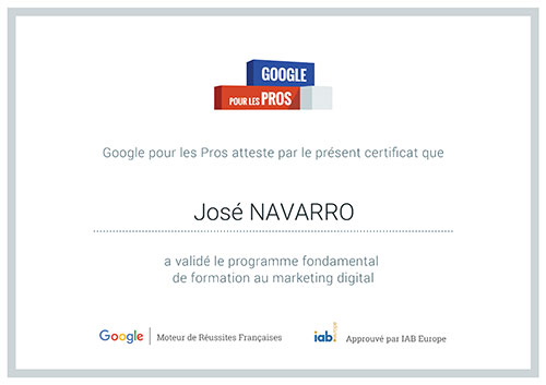 Certifié Google Marketing Digital, José Navarro - AWM82